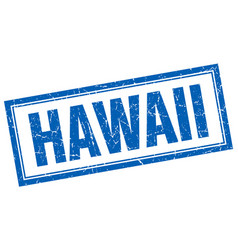 Hawaii blue square grunge stamp on white vector