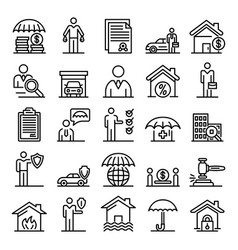 Insurance agent icons set outline style vector