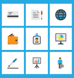 job icons flat style set with bank card vector image