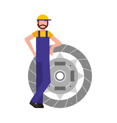 Mechanic with clutch plate auto repair service vector
