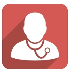 Medic Flat Rounded Square Icon with Long Shadow vector
