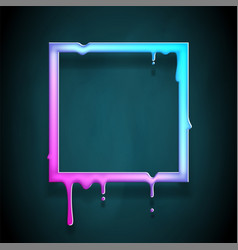 Melting frame 3d flowing art flux square drop leak vector
