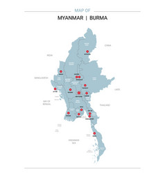 Myanmar burma map with red pin vector