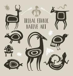 Native totem animals tribal ethnic animal vector