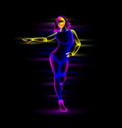 neon night dance girl vector image