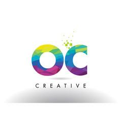 oc o c colorful letter origami triangles design vector image