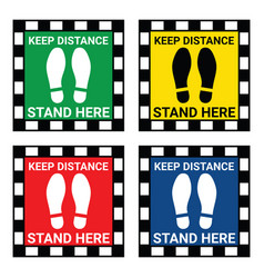 please stand here floor sign for corona virus vector image