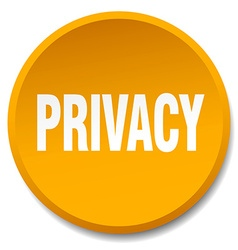 privacy orange round flat isolated push button vector image