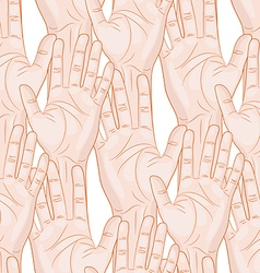 raised hands seamless pattern horizontal vector image vector image