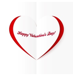 Red and white cutout heart Valentines card vector image