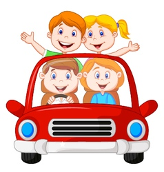 Road Trip with family cartoon vector