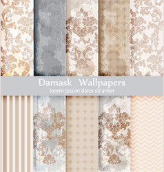 Rococo pattern textures set damask vector