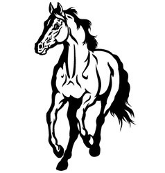 Running horse black white vector