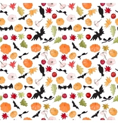 Seamless Halloween pattern with pumkins vector