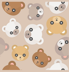 seamless pattern cute teddy bear head for use as vector image