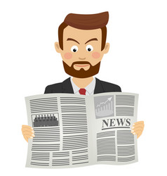 Serious businessman reading newspaper vector