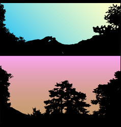 Set hills and mountain landscape vector
