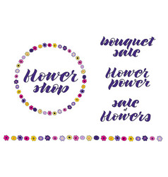 set of flower lettering and doodle wreath vector image