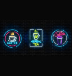 set of neon coffee and tea signs with frames on vector image