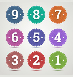 Set of round emblems with numbers vector image