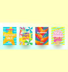 set summer sale promotion banners vector image