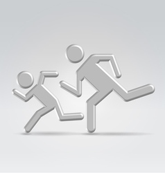 Silver icon running children vector