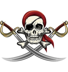 Skull with sabers vector image