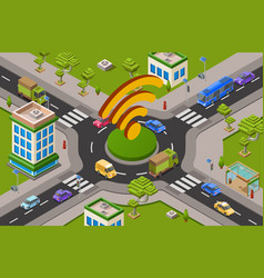 Smart city traffic and wifi on crossroad isometric vector