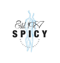 spicy logo design estd 1978 badge can be used vector image