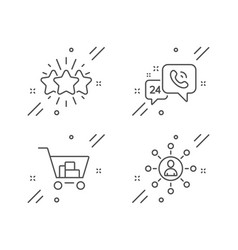 Star internet shopping and 24h service icons set vector