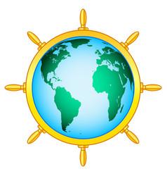 steering wheel globe vector image