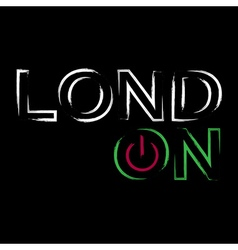 T shirt typography graphics neon London city vector