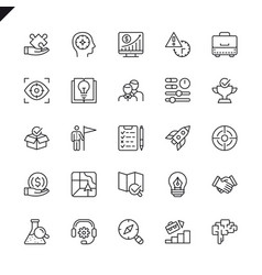 thin line startup development elements icons vector image
