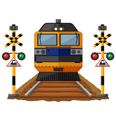 Train on the railroad vector
