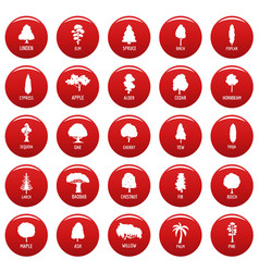 Tree icons set vetor red vector