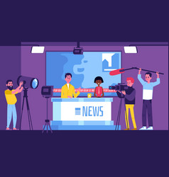 tv news studio with presenters and crew with vector image