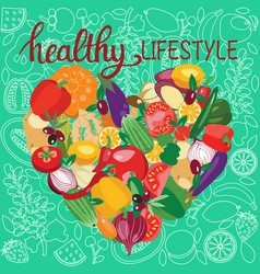 vegetarian food collection and quotes healthy vector image