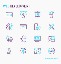 Web development thin line icons set vector
