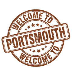 Welcome to portsmouth brown round vintage stamp vector