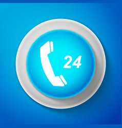 white telephone 24 hours support icon isolated vector image