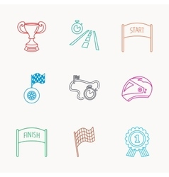 Winner cup and award icons Race flag signs vector image