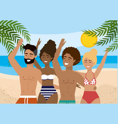 women and men wearing swimsuit and bathing shorts vector image