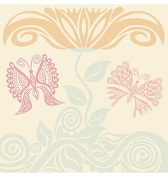 Beautiful flower and butterflies vector image