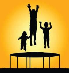 children jump silhouette vector image vector image