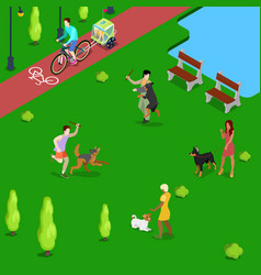 isometric people training dogs in the park vector image vector image