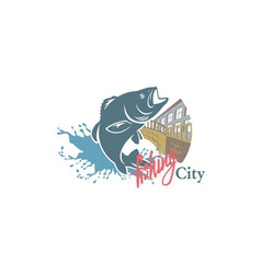 sity fishing vector image vector image