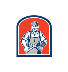 Butcher Sharpening Knife Shield vector image