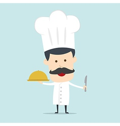 Chef serving food in the dish vector image