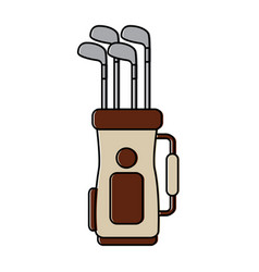 Golf bag full of clubs sport equipment vector