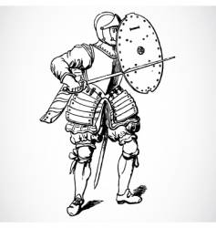 knight and shield vector image vector image